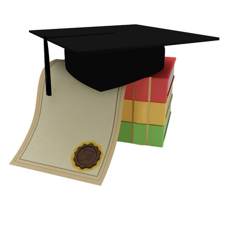 Books, diploma, graduate cap on a white background