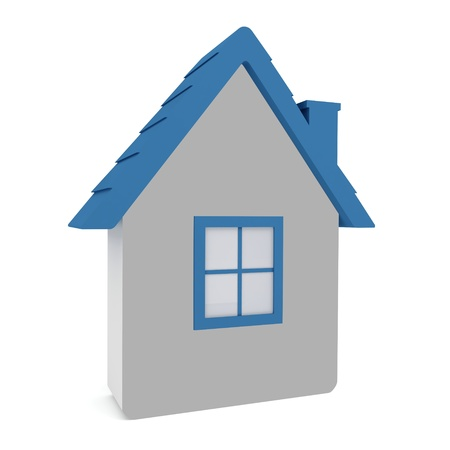 home security: Model house with a blue roof on a white background