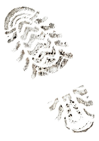 walking shoes: Imprint of the trace on a white background