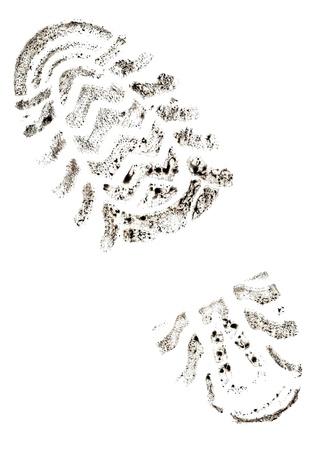 rodamiento: Pie de imprenta de la traza sobre un fondo blanco
