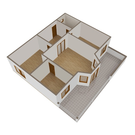 3D model flat with balcony on a white background   Stock Photo