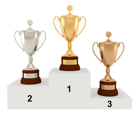 Award Cups on the podium  on a white background  photo