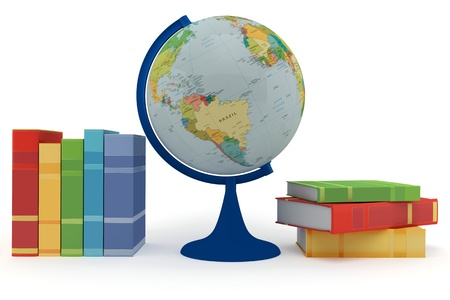 Colorful books for learning and globe on a white background Stock Photo
