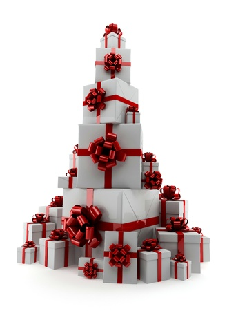 Pile of gifts on a white background - a symbol of spruce Stock Photo