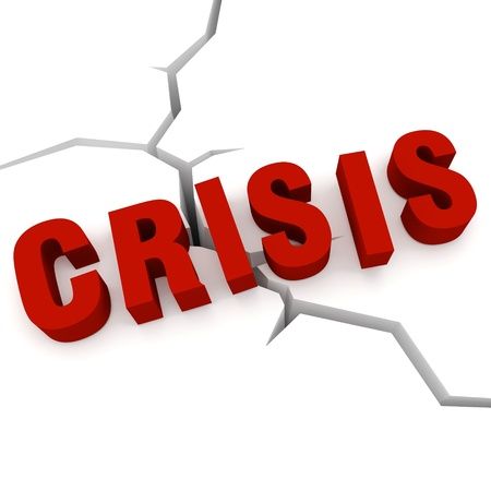 Concept of crisis - the word crisis in the background cracks