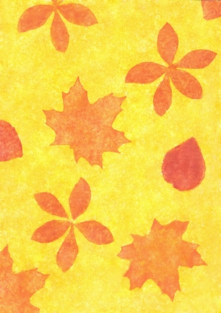 Autumn leaves in a grunge style on paper