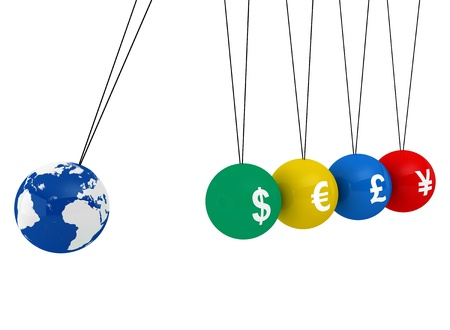 commotion: Pendulum of 3D spheres with globe and the currency - symbolizes the impact of the global economy to changes in exchange rates