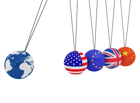 Pendulum of 3D spheres with the flag and globe - symbolizes the impact of the global economy on the country