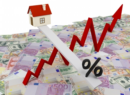 Schedule changes in real estate values on a background of money  Stock Photo