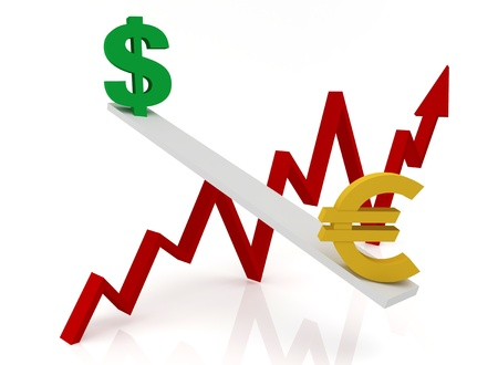 Graph of changes in exchange rates: dollar and euro on a white background  Stock Photo