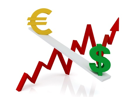 Graph of changes in exchange rates:  euro and dollar on a white background  Stock Photo