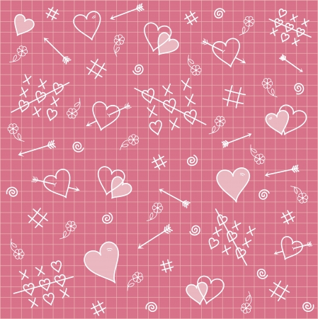 diagonal lines: Seamless pattern symbolizing love relationship: heart, arrows, flowers on a pink background.   Stock Photo