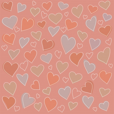 Seamless pattern: many abstract hearts in a retro style