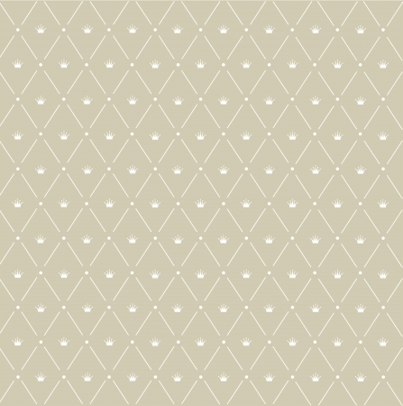 Seamless pattern: Crown symmetrically arranged between diagonal lines on the beige background Stock Photo