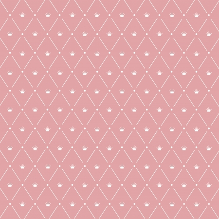 Seamless pattern: Crown symmetrically arranged between diagonal lines on the pink background