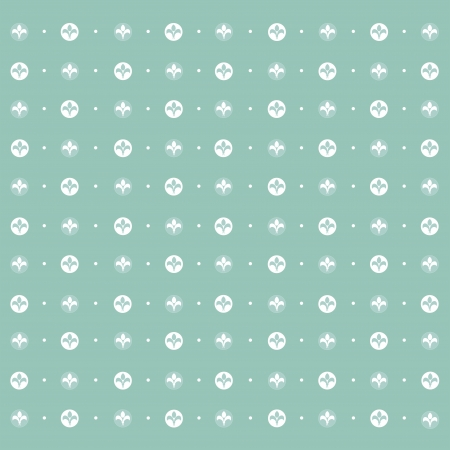 Seamless pattern: symmetrically placed lily on a green background