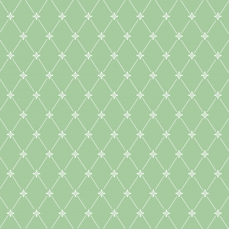 Seamless pattern: symmetrically placed flowers on a green  background  Stock Photo