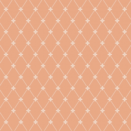Seamless pattern: symmetrically placed flowers on a orange background