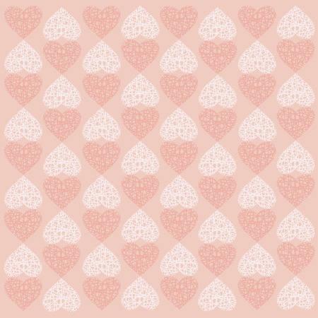 Seamless texture  of openwork hearts on a pink background