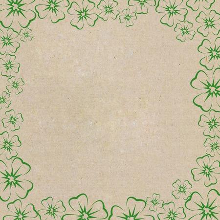 Frame of clover leaf on cardboard