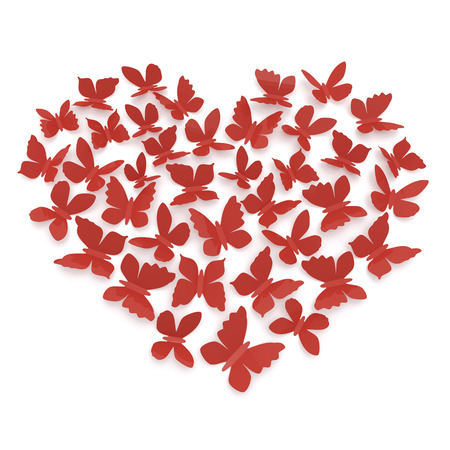 Heart shape of butterflies on a white background