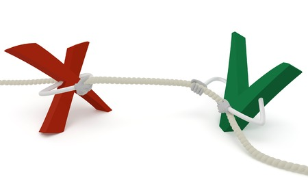 Tick and cross pull the rope