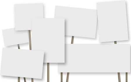 Many a banner on white background Stock Photo