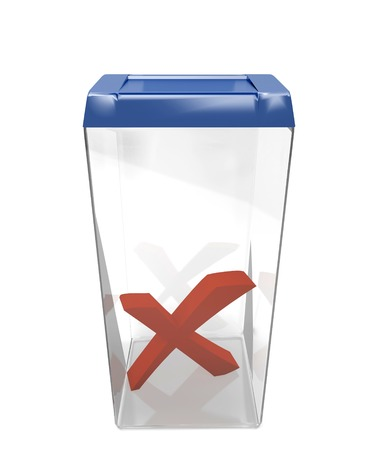 Container for ballots with cross sign  Stock Photo