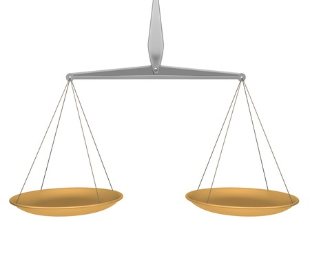 Scales in balance on white background