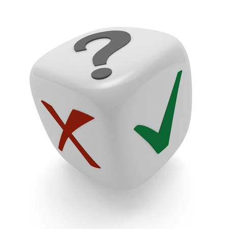 Dice with a tick, cross and question