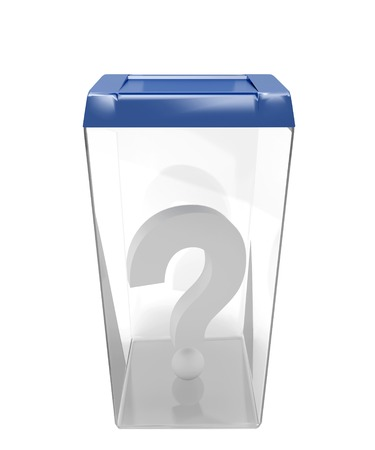 Container for ballots with a question mark