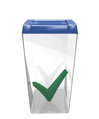 Container for ballots with tick mark