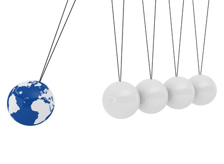 Pendulum three-dimensional white spheres and globe  on a white background - symbolizes the impact of the global economy