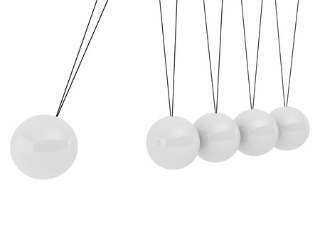 Pendulum three-dimensional white spheres on a white background