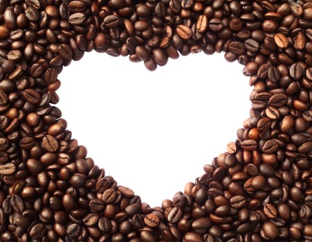 Frame in the shape of heart from coffee beans - symbolizes love, the love of coffee