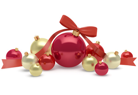 Christmas and New Year decoration of bright and shiny balls isolated on white background