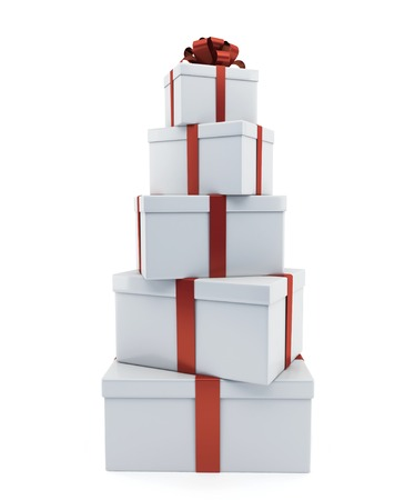 Heap of gifts of white color on a white background