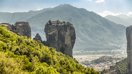kalambaka: Meteora monastery and city of Kalambaka Stock Photo