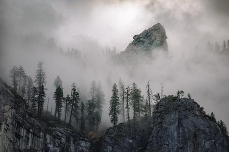 Cathedral Rocks. Fog in Sequoia National Park. Fog. Sunrise. Nov 2017