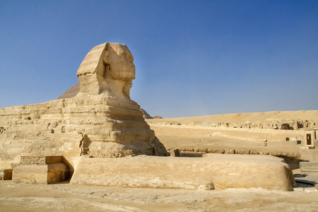 historical sites: Egyptian Sphinx, the Egyptian pyramids, historical sites, ancient monuments of mankind. Ruins of antiquity, travel and tourism. Archaeological excavations. Ancient civilization of the pharaohs. Stock Photo