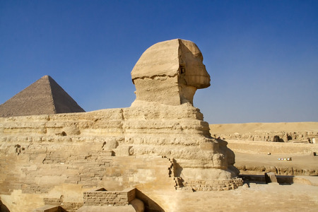 cheops: Egyptian Sphinx, ancient monuments of mankind. Ruins of antiquity, travel and tourism. Archaeological excavations. Ancient civilization of the pharaohs.