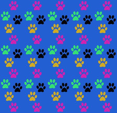 animal print: impresión de la diversión sin fisuras de las patas del animal. color de fábrica perro pata en un fondo azul. La huella de las patas de un animal doméstico. Imprimir sobre un fondo azul. Foto de archivo