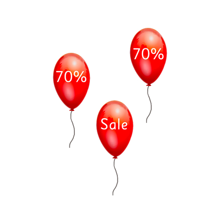 low prices: Fun balloons advertising the sale at low prices. 70% discount on the products. Sale at discount prices. Closeout large. Red balloons on white background. Festive picture with gel balls. Black Friday.