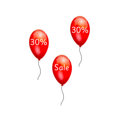 low prices: Fun balloons advertising the sale at low prices. 30% discount on the products. Sale at discount prices. Closeout large. Red balloons on white background. Festive picture with gel balls. Black Friday. Stock Photo