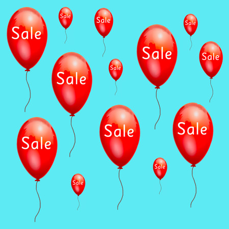 low prices: Fun red advertising balloons sale low prices. Discounts on products. Sale at discount prices. Closeout large. Red balloons on white background. A festive picture with gel balls. Black Friday.