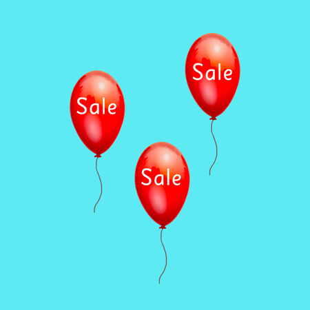 low prices: Fun balloons advertising the sale low prices. Discounts on products. Sale at discount prices. Closeout large. Red balloons on white background. A festive picture with gel balls. Black Friday.