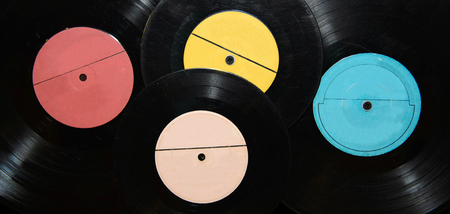 gramaphone: Vintage vinyl records with the music.