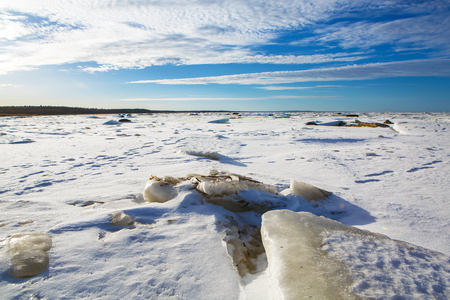 Landscape of the icy expanse. Stock Photo