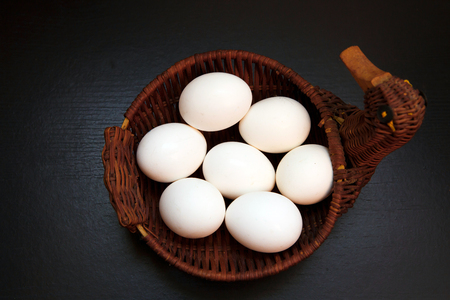 Natural rustic food that gave birth to birds. Easter still life eggs clean. 写真素材
