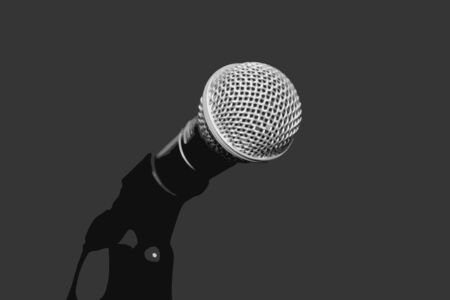Accessory indispensable singers. Symbol of musical performers. Scenario attribute to performances of artists. Tool for voice karaoke.
